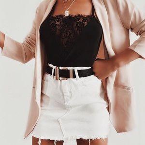 Dresses & Skirts - White mini denim jeans women's summer skirt